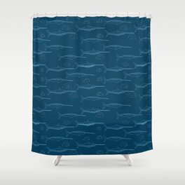 Arctic Iceberg Narwhal pattern Shower Curtain