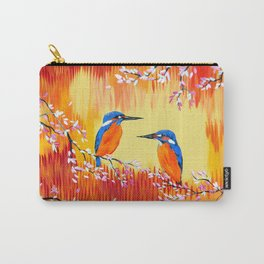 Kingfishers with red, orange and yellow Carry-All Pouch
