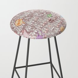 Seamless pattern world crowded with funny cats Bar Stool
