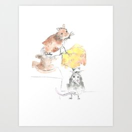 Little Mice, cheese and the story of teamwork Art Print