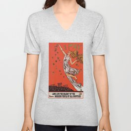 Russian May Day celebration poster in English Unisex V-Neck