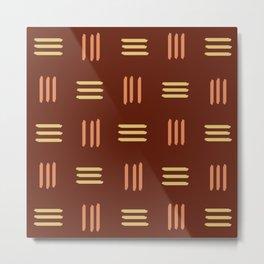Mid Century Modern Patterned Lines (Mahogany) Metal Print