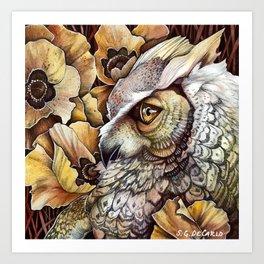 Owl among the Poppies Art Print