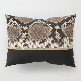 Modern black brown gold snake skin animal print Pillow Sham