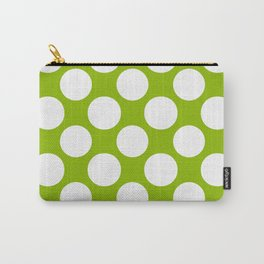 White & Apple Green Spring Polka Dot Pattern Carry-All Pouch