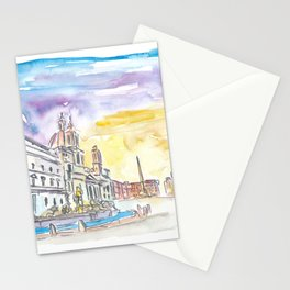 Romantic Piazza Navona in Rome Italy Stationery Cards