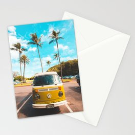 Classic V W Bus at Beach Stationery Cards