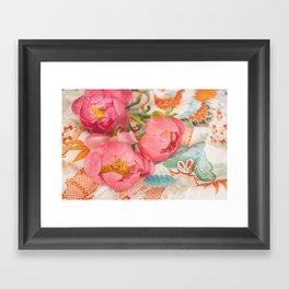 Peonies and Kimono Framed Art Print