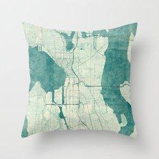 Seattle Map Blue Vintage Throw Pillow