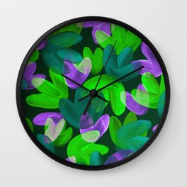 Vibrant Acrylic Painting Layered Tulips Floral Pattern Multi Colors Neon Purple Green Wall Clock