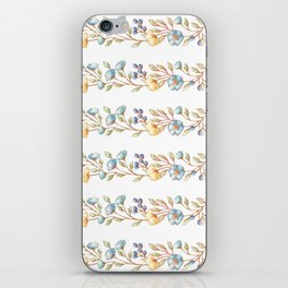 Yellow green blue hand painted modern floral stripes iPhone Skin