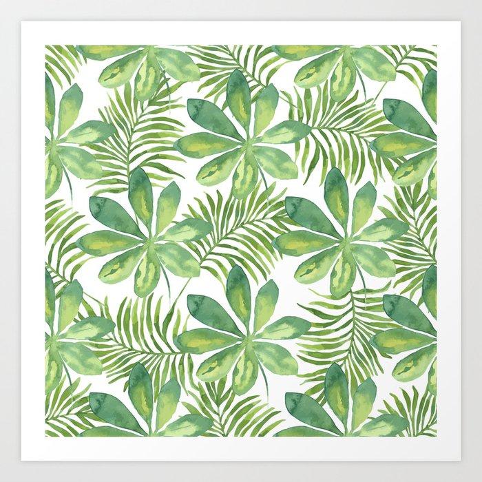 Tropical Branches Pattern 01 Art Print