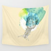 snail Wall Tapestries featuring snail by Sabine Israel