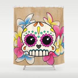 Calavera con Flores - Sugar Skull with Frangipani Flowers Shower Curtain