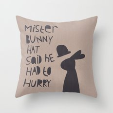 Mister Bunny Hat Throw Pillow