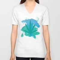 water colour V-neck T-shirts featuring Water Colour Leaf by sstonnedd
