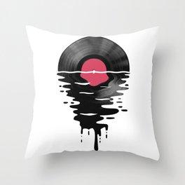 Vinyl LP Record Sunset Throw Pillow
