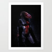 scary Art Prints featuring scary by Artharik
