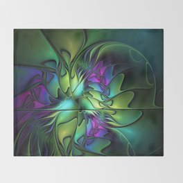Colorful And Abstract Fractal Fantasy Throw Blanket