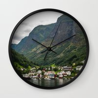 norway Wall Clocks featuring Norway by Michelle McConnell