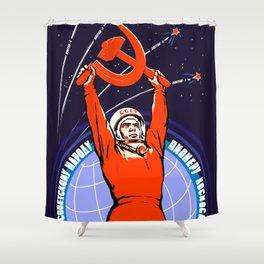 Soviet Propaganda. Yuri Gagarin Shower Curtain
