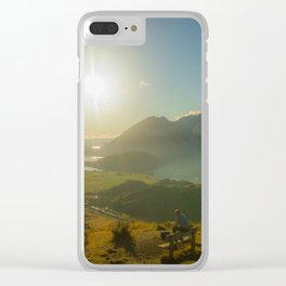 lake wanaka covered in blue colors new zealand beauties and mountains at sunrise person Clear iPhone Case
