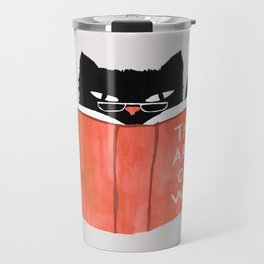 Cat reading book Travel Mug
