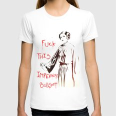 fuck this imperialist bullshit LARGE Womens Fitted Tee White