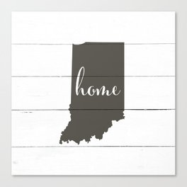 Indiana is Home - Charcoal on White Wood Canvas Print