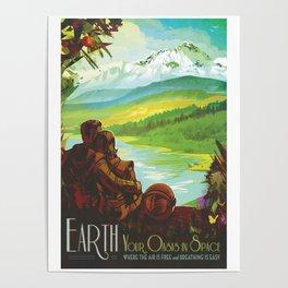 NASA Retro Space Travel Poster #2 - Earth Poster