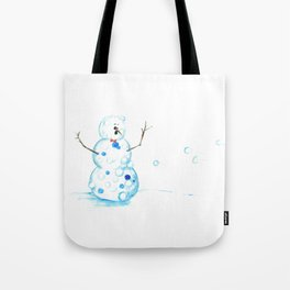 Snowman in a Snowball Fight! Tote Bag