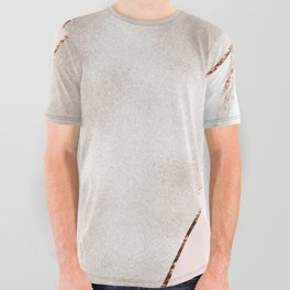 Spliced mixed rose gold marble All Over Graphic Tee