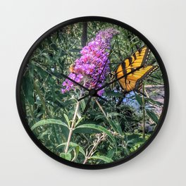 Butterfly on Butterfly Bush Wall Clock