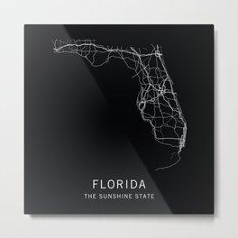 Florida State Road Map Metal Print