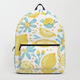 Lemon pattern White Backpack