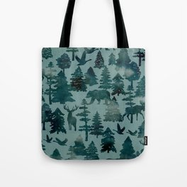 The Wild North, Wildlife, Blue Silhouette Forest and Animal Print Tote Bag