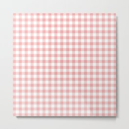 Lush Blush Pink and White Gingham Check Metal Print