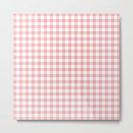 Lush Blush Pink and White Gingham Check Metal Print