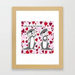 otter love for Valentine's Day Framed Art Print