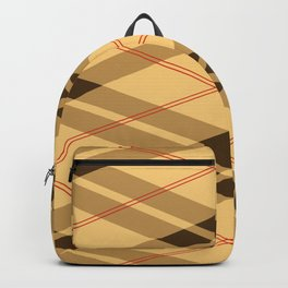 Red Line And Brown Lumberjack Flannel Pattern Backpack