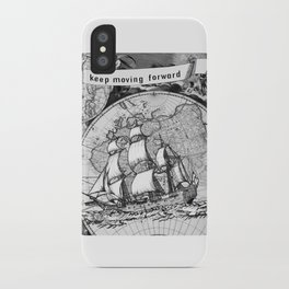 ship on a background map . black and white . keep moving forward iPhone Case