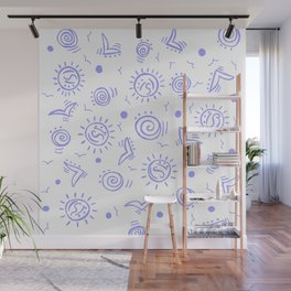 Periwinkle Pattern of Seagulls Suns and Shells Wall Mural