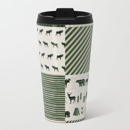Camping hunter green plaid quilt cheater quilt baby nursery cute pattern bear moose cabin life Travel Mug