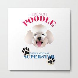 French Poodle, Cartoon Poodle Metal Print