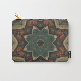 Papaya // Rustic Plant Botanical Abstract Green Botanical Circle Pattern Carry-All Pouch