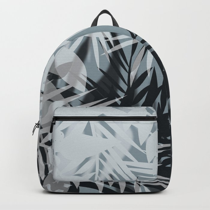 Gray Leaves pattern . Backpack