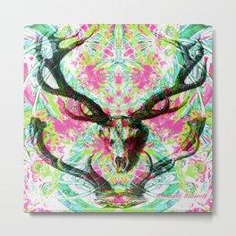 psychedelic deer skull print Metal Print