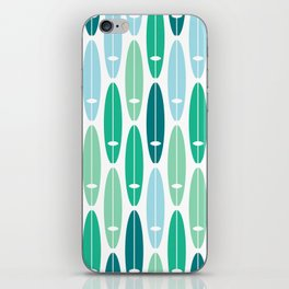 Vintage Surf Boards in Turquoise, Teal and Blue iPhone Skin