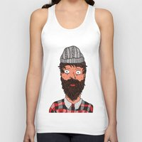 larry Tank Tops featuring Larry Lumberjack by ALFIE creative design