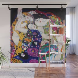 The Virgin Maidens, anemones and lilies floral portray by Gustav Klimt Wall Mural